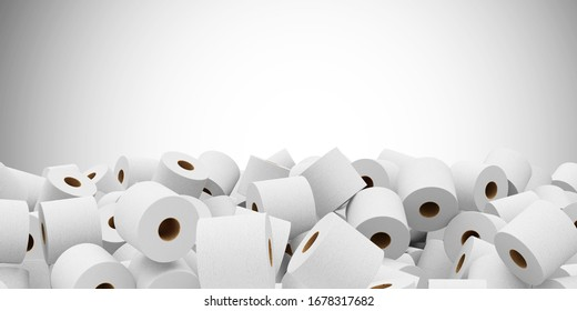 Heap of White Toilet Paper abstract background with Place for Text. 3D Rendering