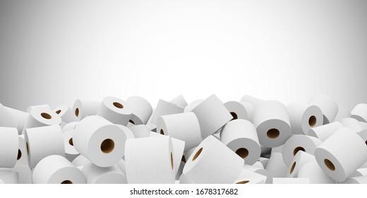 Montaje de fondo abstracto de papel de baño blanco con lugar para texto. Representación 3D