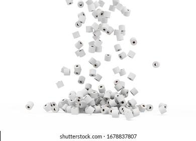 Montaje de papel higiénico blanco sobre fondo degradado. Representación 3D