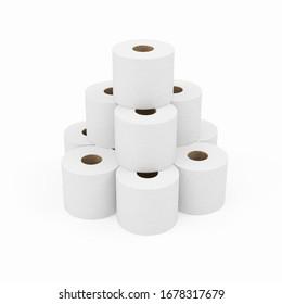 Montaje de papel higiénico blanco aislado en fondo blanco, representación 3D