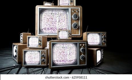 heaps of retro, antique tv in dark room. 3d rendering.