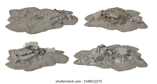 Heaps of rubble and debris isolated on white background 3d illustration