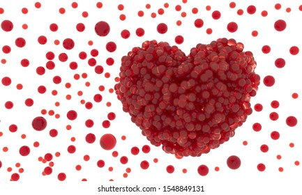 Heart - 3d render illustration. Valentine day holiday poster. Candy bubbles Red heart shape. Symbol of love, romance, anniversary. Viruses try to enter bloodstream. Blood poisoning, organ donation.