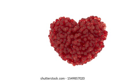 Heart - 3d render illustration. Valentine day holiday poster. Candy bubbles Red heart shape. Jelly round sweets fly. Symbol of love, romance, anniversary on a white background.