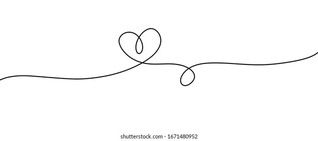 Heart. Abstract love symbol. Continuous line art drawing illustration. Valentines day background banner.