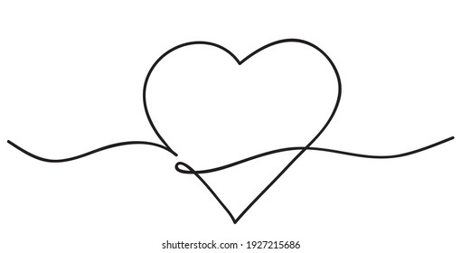Heart. Abstract love symbol. Continuous line art drawing illustration.