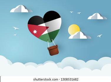 Heart air balloon with Flag of Jordan for independence day or something similar