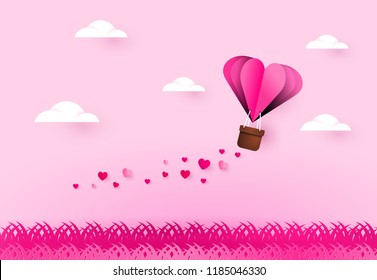 Heart air balloon. Love and valentines day.
