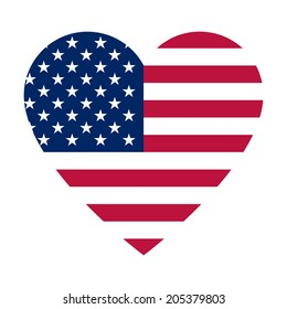 The heart with american flag colors and symbol