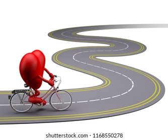 heart with arms and legs on bicycle on the road, 3d illustration