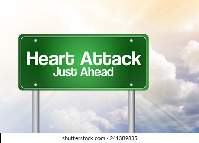 Heart Attack Green Road Sign concept