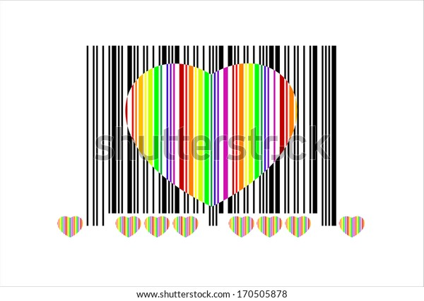 Heart barcode icon. Useful bar code for Valentine's Day. Isolated over white
