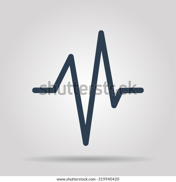Heart beat, Cardiogram, Medical icon. Flat design style