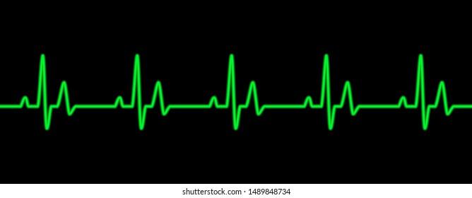 Heart beat line green on black