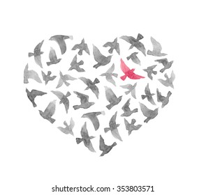 Heart with birds for Valentine day. Watercolor