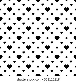 Heart black on white seamless pattern. Fashion graphic background design. Abstract texture. Monochrome template for prints, textiles, wrapping, wallpaper, website etc. illustration