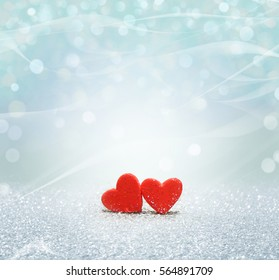 Heart with bokeh light background. Valentines day texture.