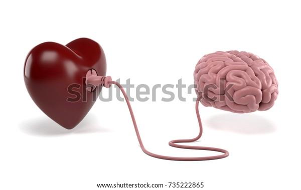 Corazón y cerebro conectados con enchufe de alimentación aislado. Mejor trabajo en equipo de las interacciones cerebrales y cardíacas. Representación 3D.