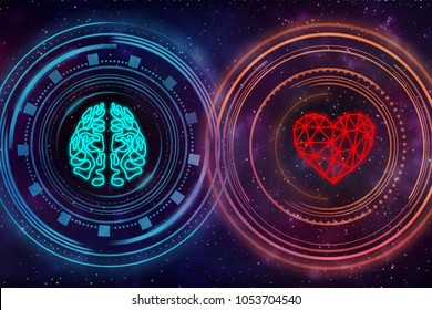 Heart and brain. Digital interface. Starry sky in the background