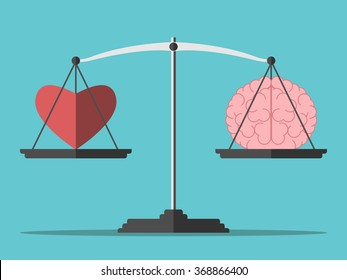 Heart and brain on scales. Balance, love, mind, intelligence, logic concept. Flat style