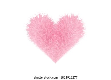 The heart is bright sweet pink hair. Heart symbol has sweet pink fur isolated on white background. 3D rendering.