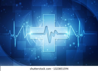 Heart with cardiogram - 2D illustration