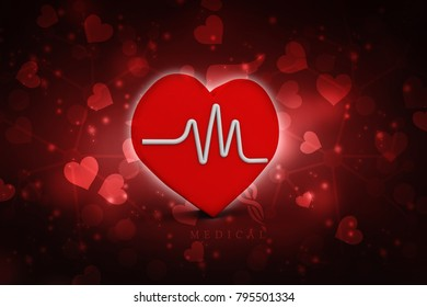 Heart with cardiogram - 3D illustration