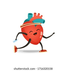 Heart cartoon character, illustration isolated on white