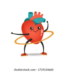 Heart cartoon character, illustration isolated on white