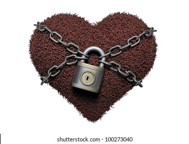 Heart with chain on white background