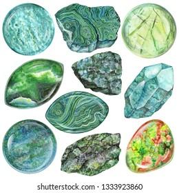 Heart chakra stones set. Close up illustration of green gems drawn by hand with watercolor. Healing crystals Amazonite, Aventurine, Malachite, Jade, Prehnite, Unakite