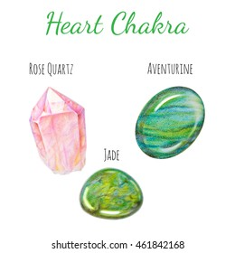 Heart chakra stones set. Close up illustration of gems drawn by hand with colored pencils.
