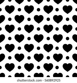 Heart and circle seamless pattern. Fashion graphic background design. Abstract texture. Monochrome template for prints, textiles, wrapping, wallpaper, website etc. illustration