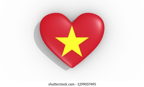 Heart in colors flag of Vietnam 3d rendering