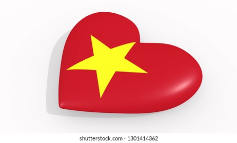 Heart in colors and symbols of Vietnam 3D rendering