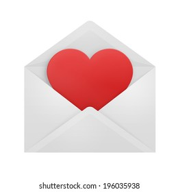 Heart coming out from an white envelope.