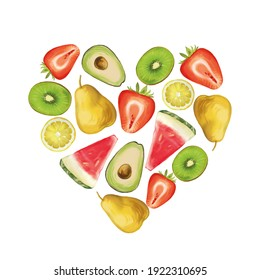 Heart composition made from different fruits. Illustration of kiwi, pear, strawberry, watermelon, avocado