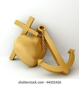 heart cross anchor faith hope love 3D illustration