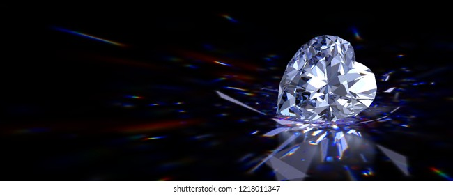 Heart cut diamond with beautiful colorful caustics rays on black glossy background. 3D illustration