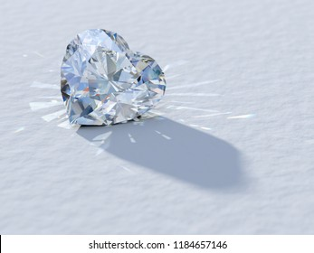 Heart cut diamond close-up on white background, rear light, caustics rays. 3D illustration