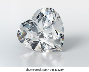 Heart cut  diamond on glossy white background, with slight reflection, shadow. Close-up front view, 3D rendering illustration