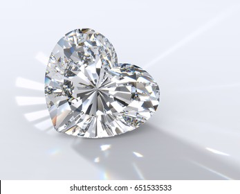 Heart cut diamond on light blue background, back highlighted to throw a shadow ahead, with reflected rays, rainbow refraction caustics. Close-up view. 3D rendering illustration