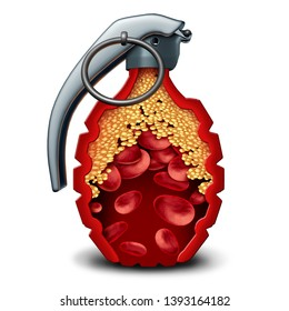 Heart disease bomb and cholesterol danger coronary artery illness with a live grenade inside an artery with plaque formation as clogged arteries and atherosclerosis as a 3D illustration.