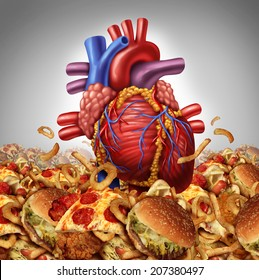 Heart disease risk symbol and health care and nutrition concept as a human cardiovascular organ drowning in an ocean of greasy high salt unhealthy fast food as a symbol of artery clogging crisis.