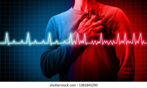 Heart disorder and atrial fibrillation ecg as a coronary cardiac attack with irregular and normal organ rhythm as a chest discomfort disease concept in a 3D illustration style.