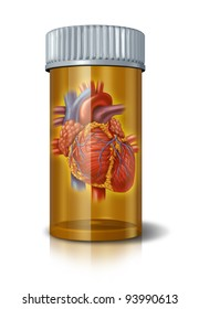 Heart drugs and blood medicine to treat the human organ in a pharmaceutical pill bottle as a concept of prescription drugs therapy and research in healthy cardiovascular circulation of the body.