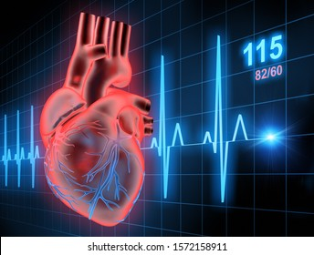 Heart with ECG - 3d Illustration