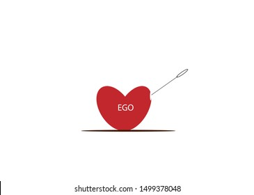 Heart with ego. Concepts of ego, self-confidence and narcissism.