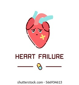 Heart failure disease awareness poster with sad cartoon character on white background. Human body organs anatomy icon. Medical concept.