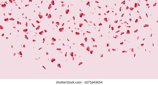 Heart falling confetti isolated pink background. Red fall hearts. Valentine day decoration. Love element design, hearts-shape confetti invitation wedding card, romantic holiday illustration